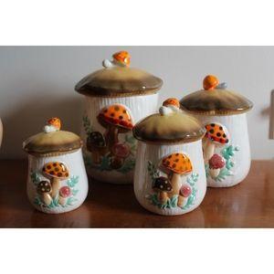 vtg 70s set of 4 stranger thing mushroom container